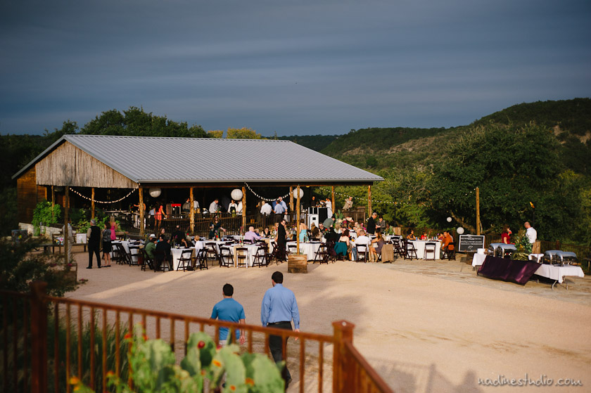 reception at hideout on the horsehoe bay wedding