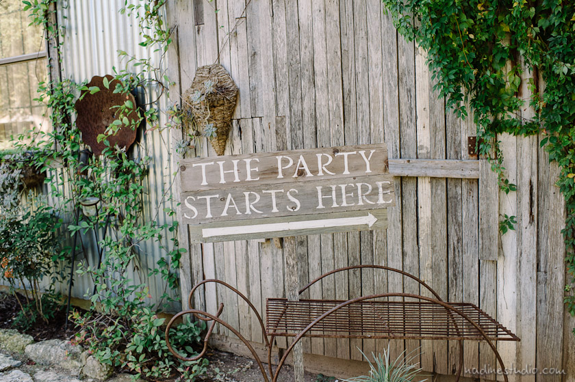 the party starts here sign at Vista West Ranch