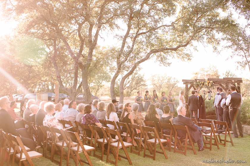 ceremony at vista west ranch during sunset