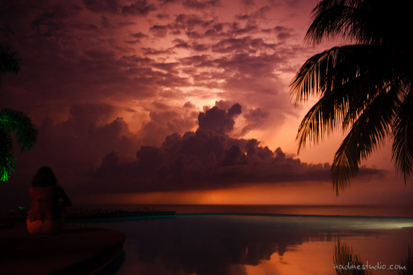 sunset during a thunderstorm costa rica