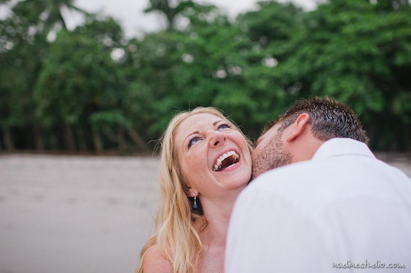 happy bride tropical wedding