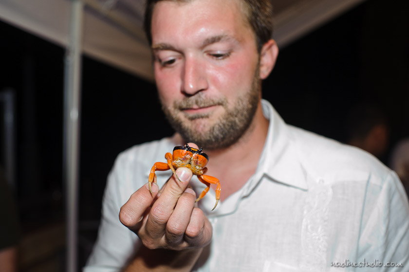 groom eating crab