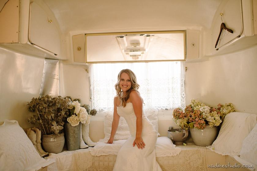 bride in a vintage airstream