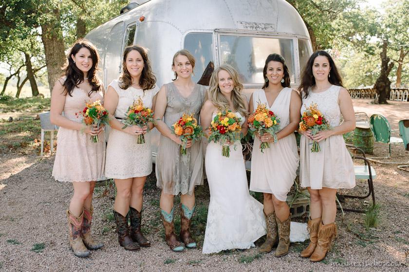 bridesmaids in casual dresses
