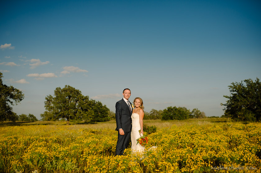 bride and groom in a field of gold