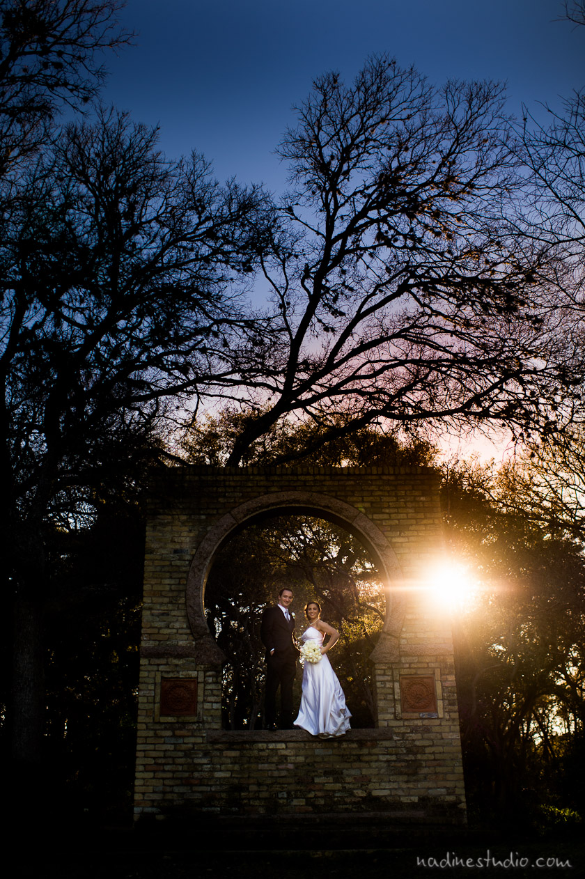 zilker botanical garden keyhole bride and groom portrait