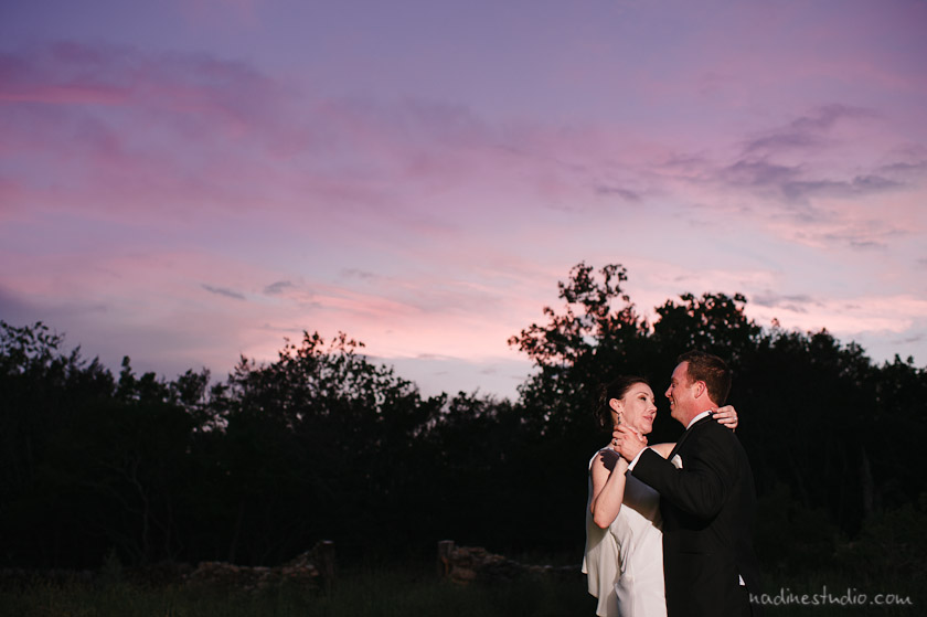 sunset at the round rock wedding venue