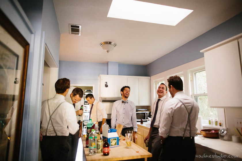 groomsmen hanging out before wedding