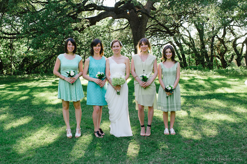 bridesmaids with different dresses