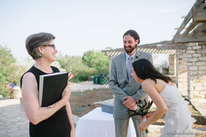 wedding ceremony on top of mount bonnell park