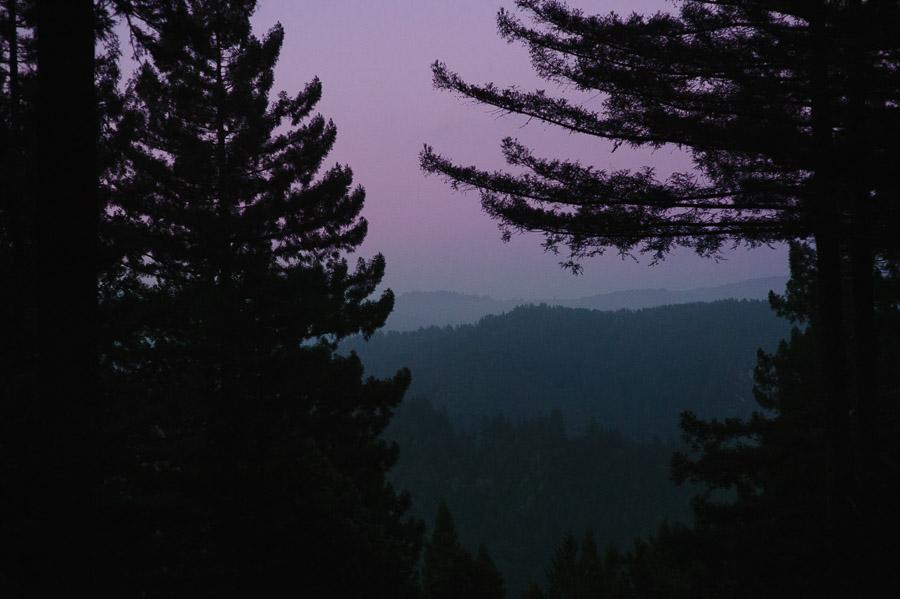 purple sunset in ben lomond california