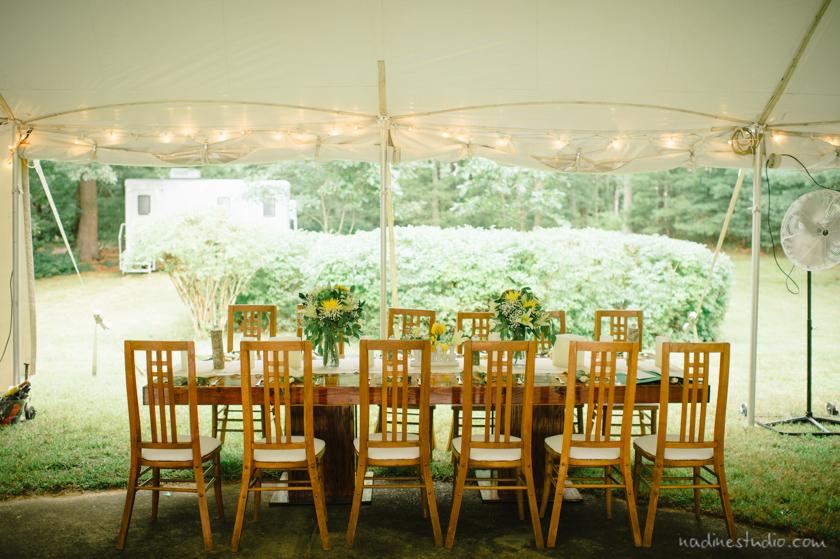 tables under a tent rustic decor