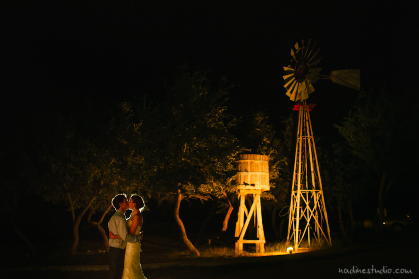 night portrait with windmill rustic