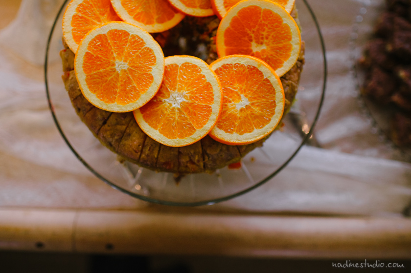orange cake at  a wedding