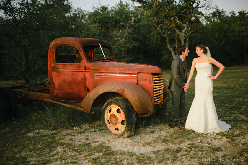 truck photo with bride