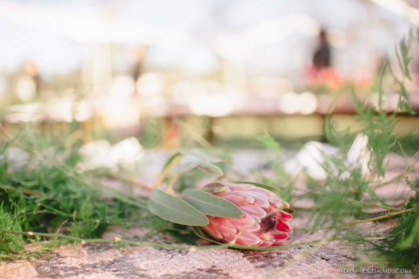 a pink flower centerpiece
