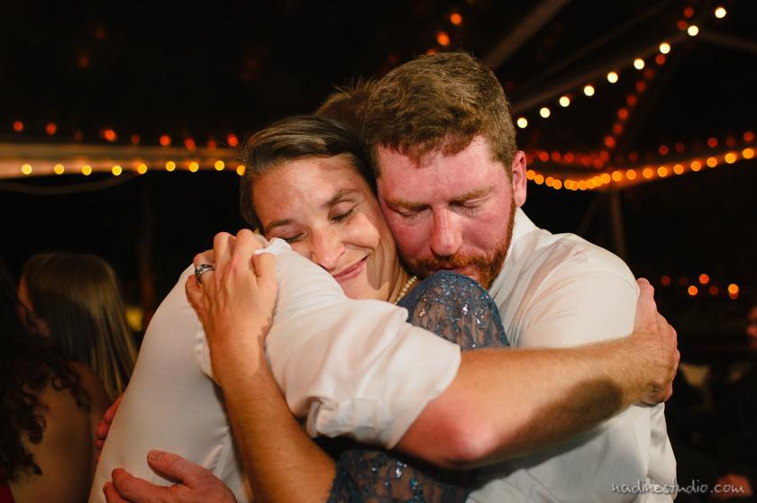 hugging at reception