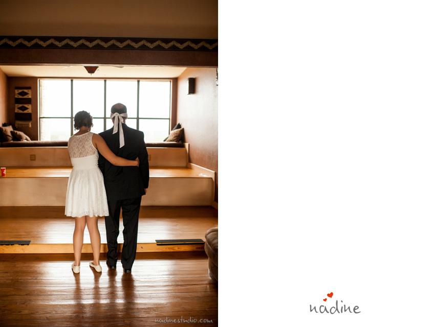 blindfolded groom