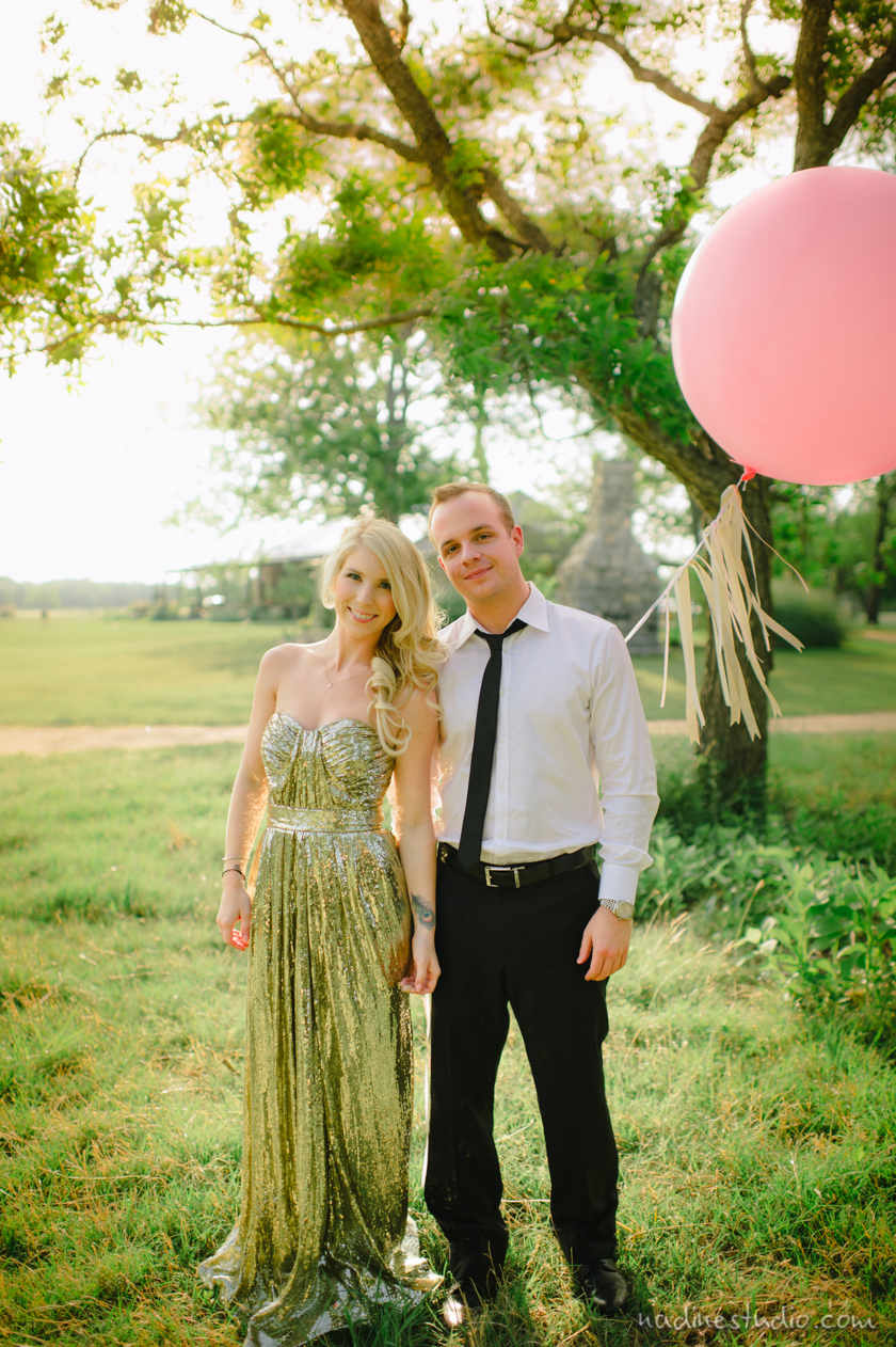 evening dress engagement session with champagne