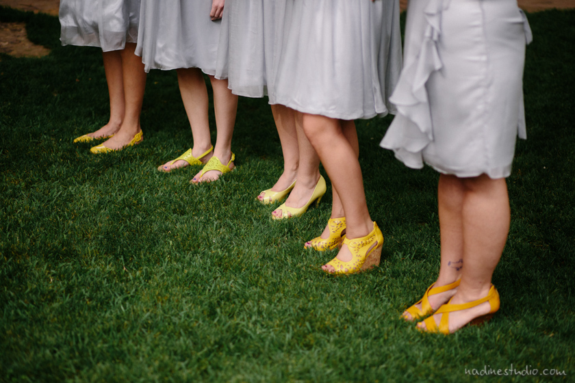 yellow shoes and gray dresses