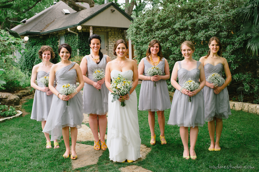 yellow flowers and shoes and gray dresses