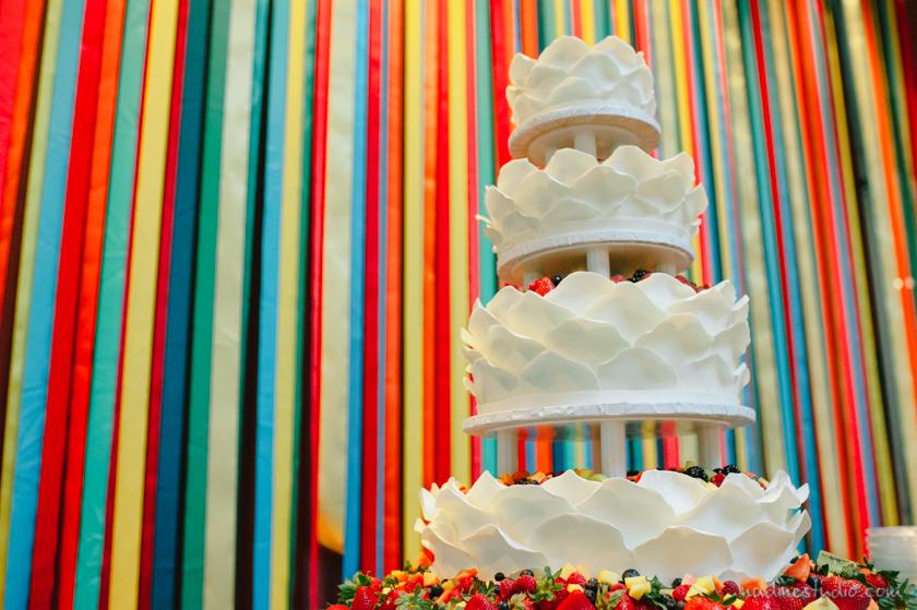 cake with rainbow background