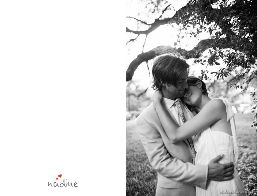 bride hugging groom black and white