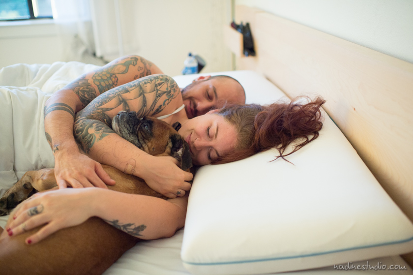 boxer dog in bed with owners