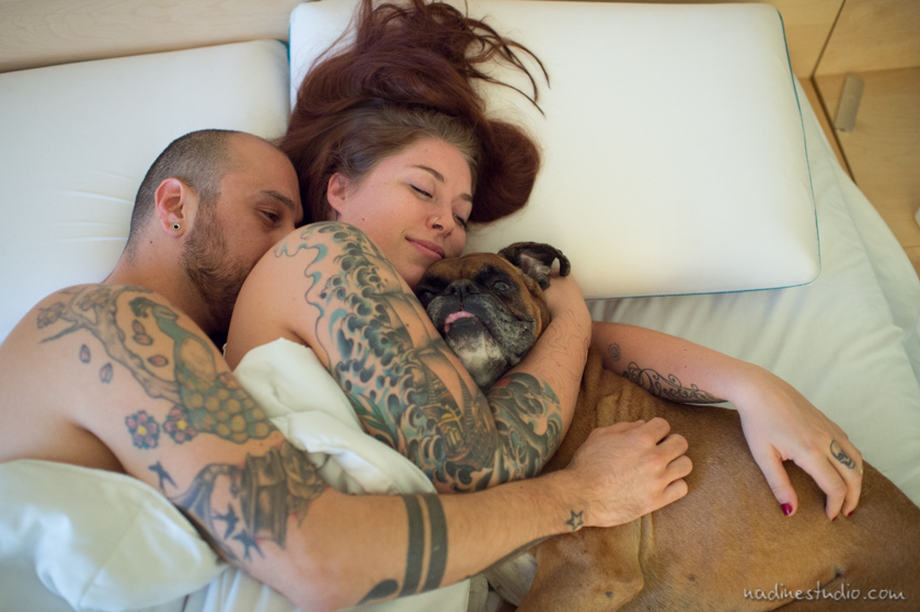 tattoos and cuddling in bed