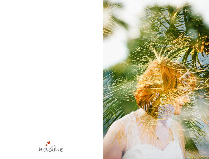 palm trees andbride