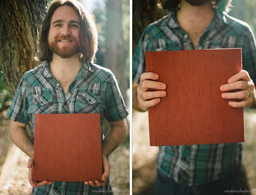 austin wedding album with japanese silk linen