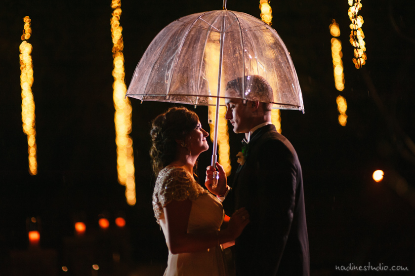 clear umbrella couple