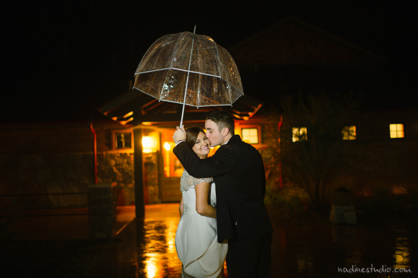 bride groom in the rain with clear umbrella
