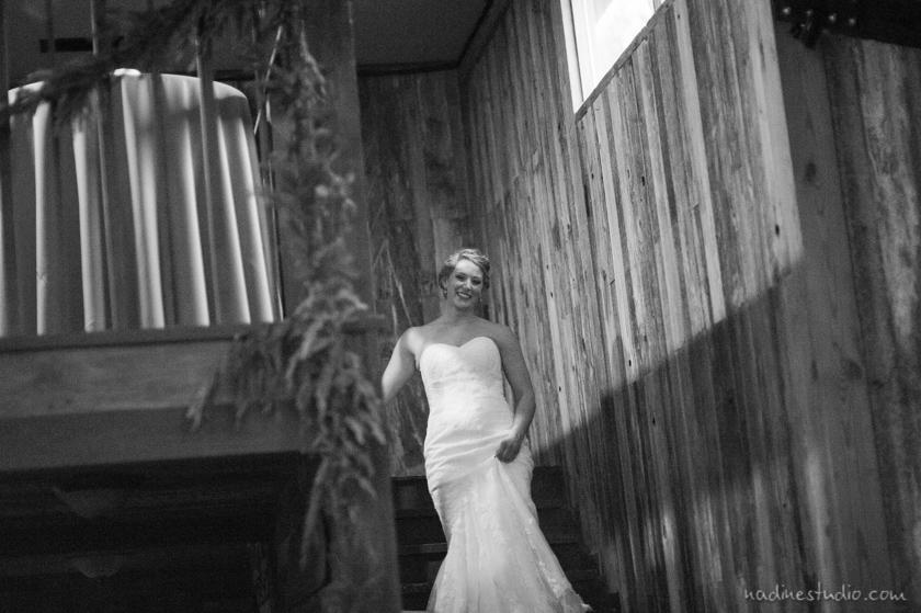 bride walk down stairs