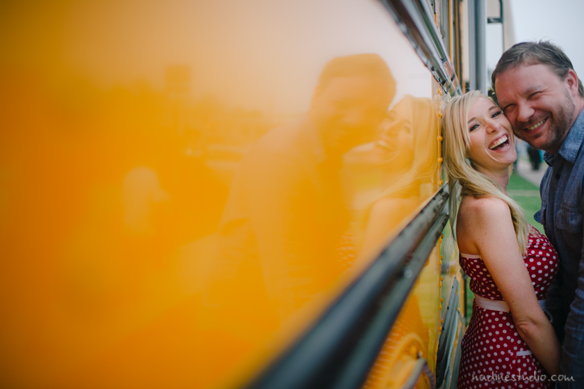 schoolbus engagement photographers