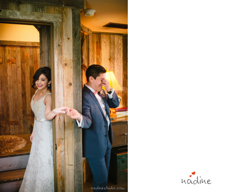 bride and groom not seeing each other by the door way