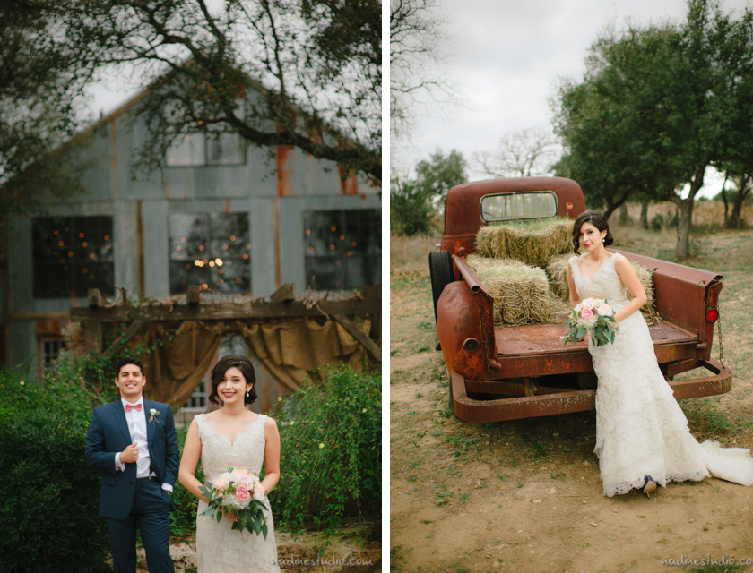 rustic wedding with vintage car