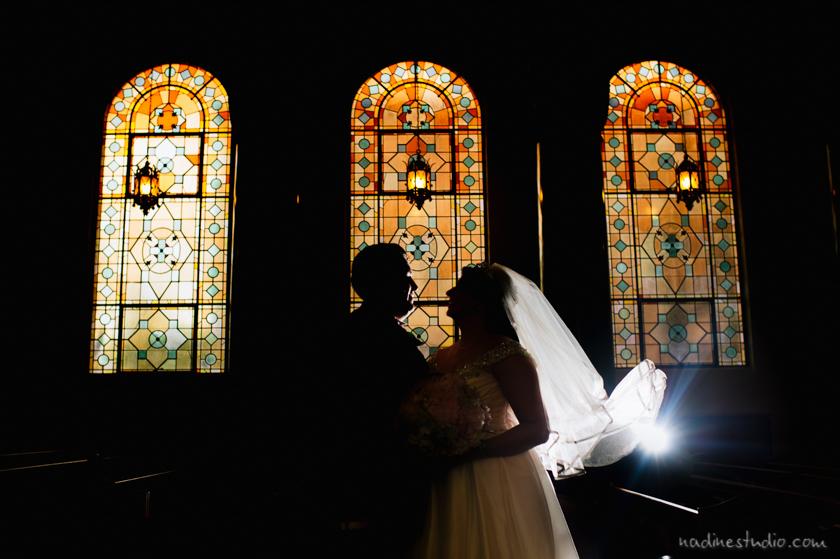 central christian church wedding sillouette window