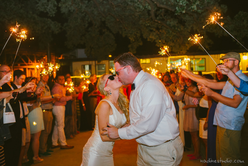 riverboat wedding sparkler exit