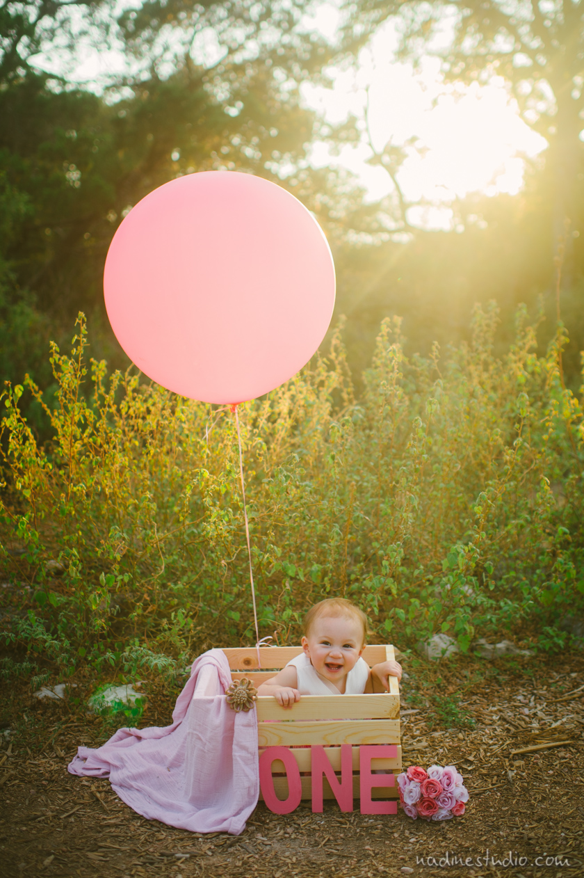 first birthday shoot with balloons