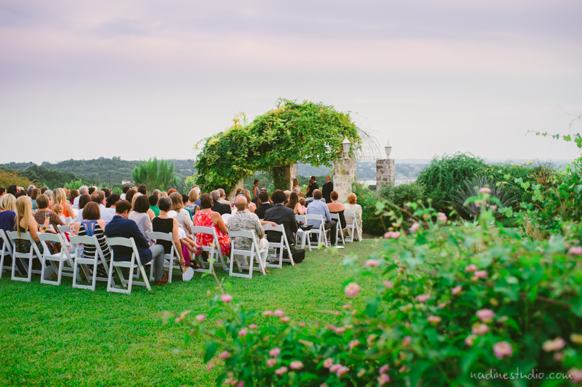 sunset ceremony by the lake in vintage villas