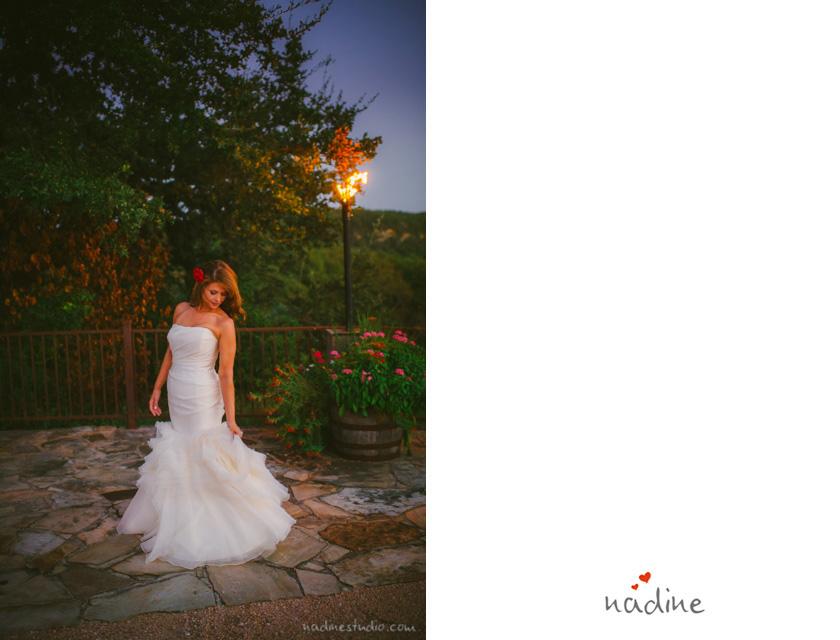 bride twirling at dusk