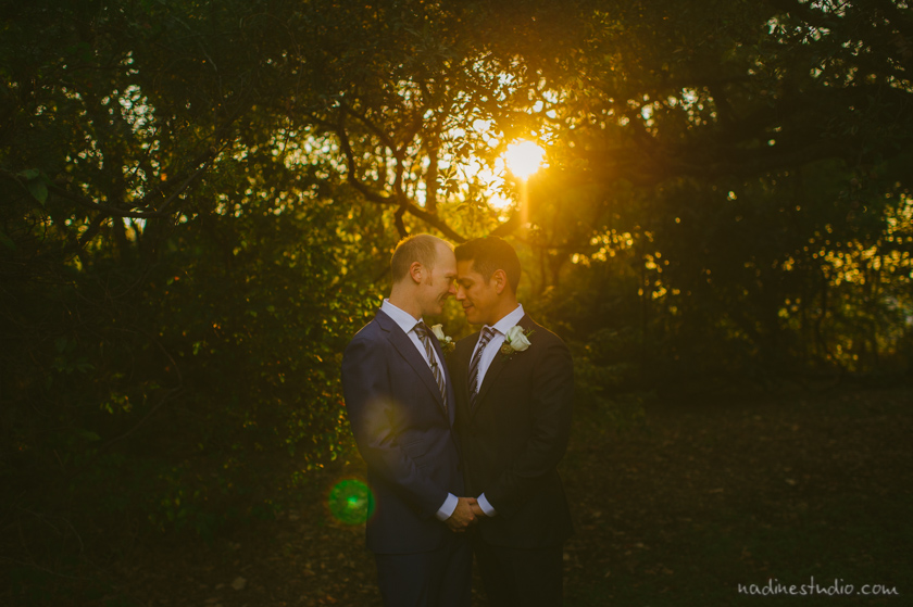a gay couple with the sunlight and sun rays
