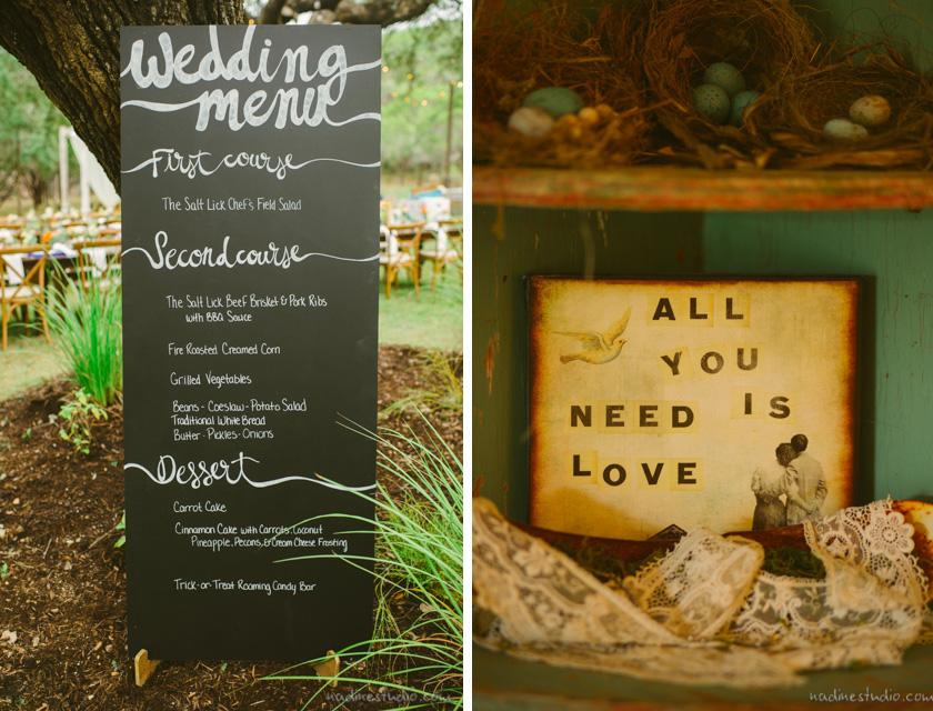 the menu in chalk board