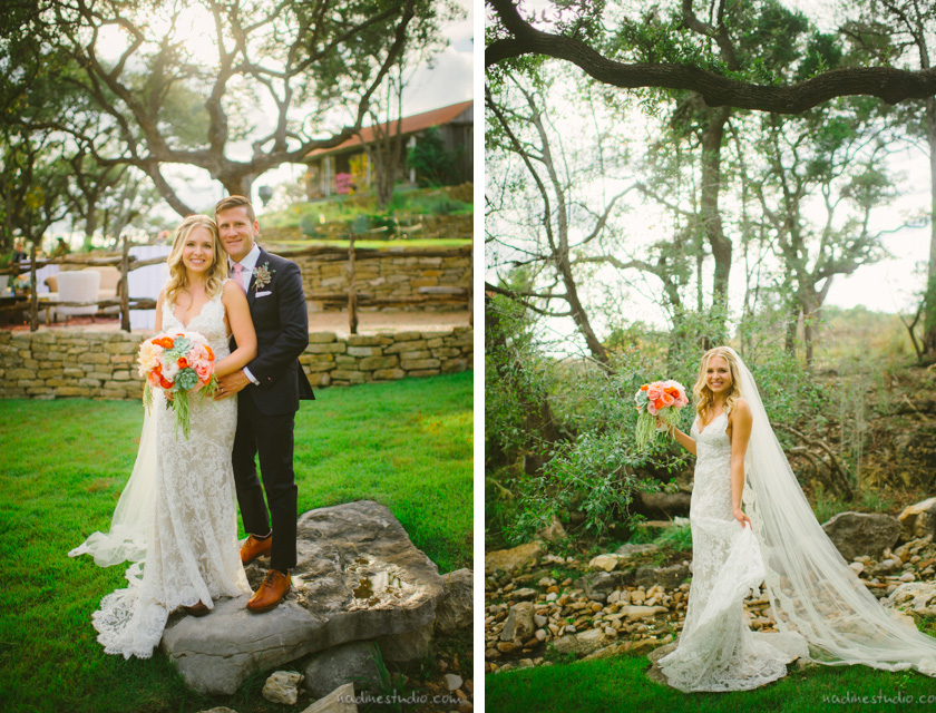 bride and groom together at rustic ranch