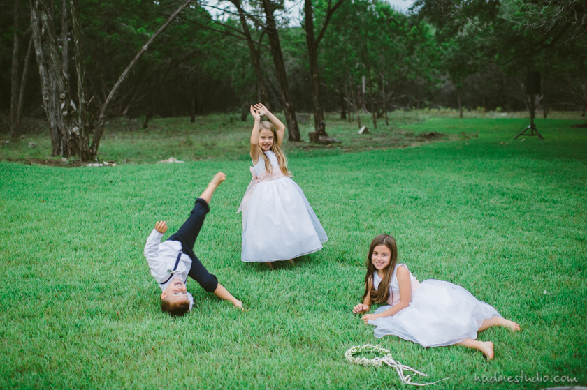 flower girls and ring bearer playing