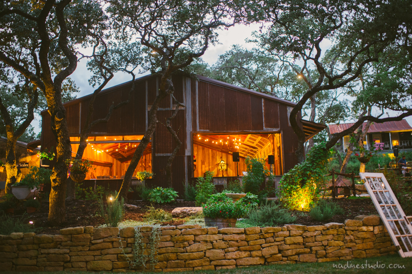 night time wedding at rustic ranch