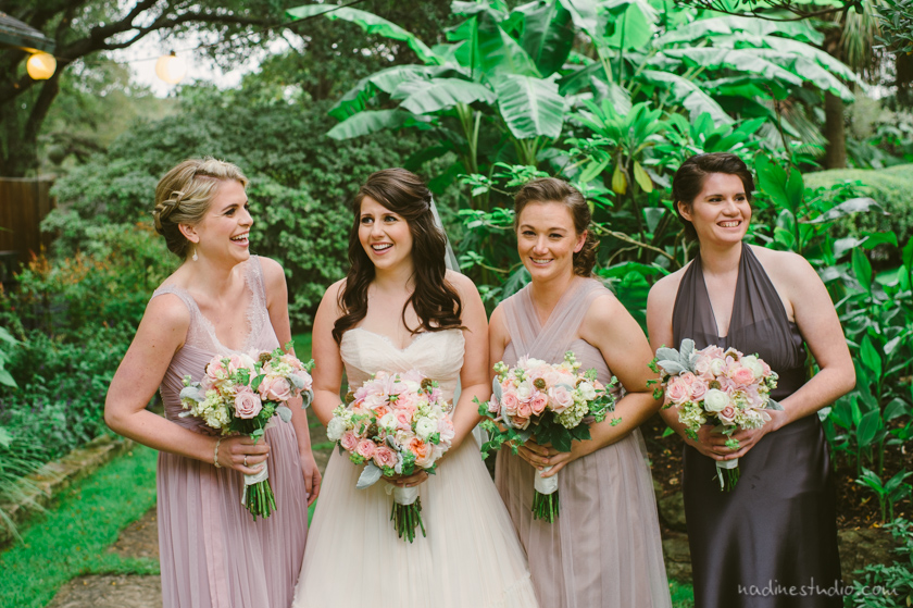 bridesmaids in pastel pink purples