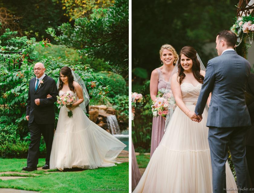 bride walkign down the aisle