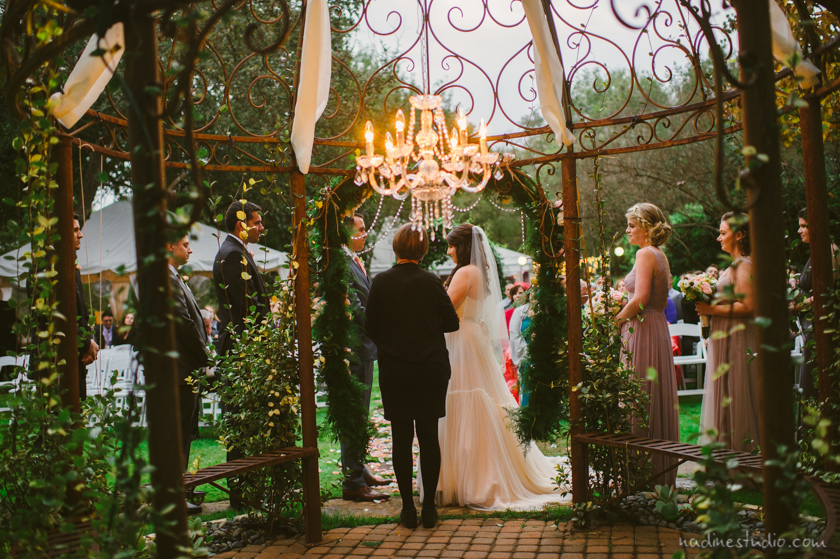 chandelier over ceremony